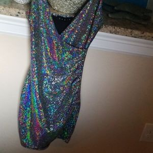Sparkly Iridescent Dress Silver Black Colorful